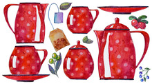 Hand Painted Watercolor Set Of Ware And Berries. Teapot, Cup, Milk Seller, Sugar Bowl. Illustration. Perfect For Food Magazines, Design, Cards, Textile