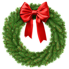 Christmas Wreath, Red Ribbon Bow, Isolated On White Background