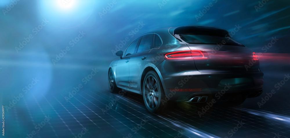 Fototapety, obrazy: Modern sports urban SUV in motion (3D Illustration)