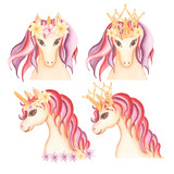 Watercolor hand drawn  unicorn portrait set illustration with different decoration,crawn, flowers, fairy tale animal creature, magical  clip art, isolated on white background. Birthday card.