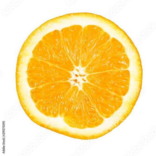 Fotografie, Obraz  Rebanada de naranja aislada