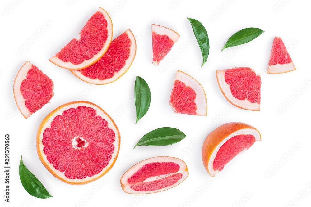 Fotografie, Obraz Grapefruit and slices with leaves isolated on white background