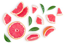 Grapefruit And Slices With Lea...
