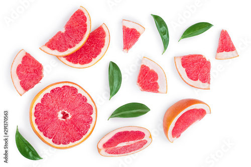 Fotografía  Grapefruit and slices with leaves isolated on white background
