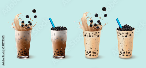 Photo  Bubble milk tea ads with delicious tapioca and pearl pouring into
