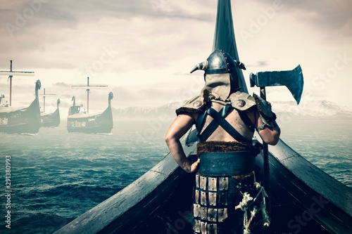 viking warrior on ship Wallpaper Mural