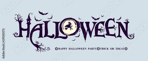 Halloween horizontal banner with festive vector logo Canvas Print
