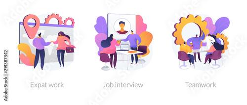 Photo sur Toile Oiseaux sur arbre Employment stages icons set. Recruitment service searching candidates. Coworkers business meeting. Expat work, job interview, teamwork metaphors. Website web page template - concept metaphors.