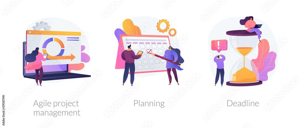 Fototapeta Task management and productivity icons set. Workflow organization and optimization scheme. Agile project management, planning, deadline metaphors. Vector isolated concept metaphor illustrations.