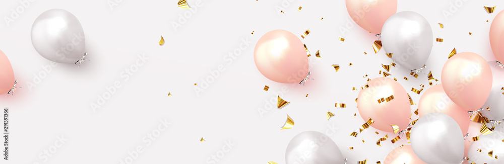 Fototapeta Background with festive realistic balloons with ribbon. Celebration design with baloon, color pink and white, studded with gold sparkles and glitter confetti. Celebrate birthday template