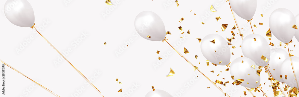Fototapeta Background with festive realistic balloons with ribbon. Celebration design with baloon, color white, studded with gold sparkles and golden glitter confetti. Celebrate birthday template