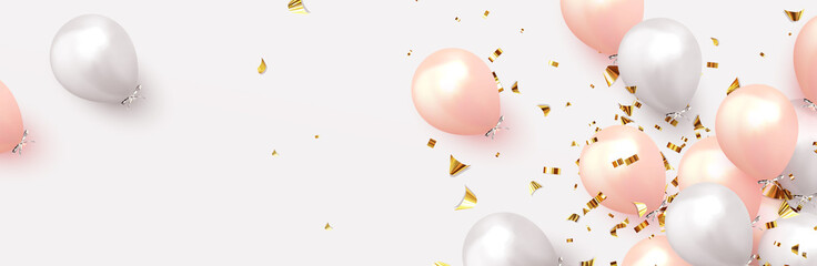 Background with festive realistic balloons with ribbon. Celebration design with baloon, color pink and white, studded with gold sparkles and glitter confetti. Celebrate birthday template