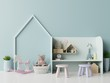 Leinwanddruck Bild Mock up in children's playroom with tent and table sitting doll on empty blue wall background.