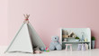 Leinwanddruck Bild Mock up in children's playroom with tent and table sitting doll on empty pink wall background.