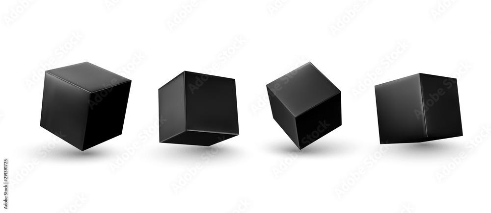 Fototapeta Black Cube 3d render. Set square block. Realistic isolated on a white background. vector illustration