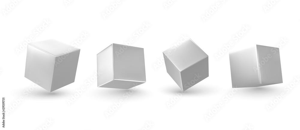 Fototapeta White Cube 3d render. Set square block. Realistic isolated on a white background. vector illustration