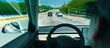 canvas print picture - Person in a self driving autonomous car with autopilot
