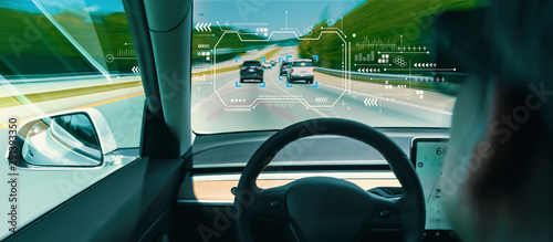 Person in a self driving autonomous car with autopilot Canvas Print