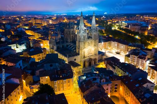 Burgos cityscape at night, Spain