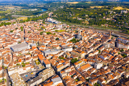 Fototapeta General aerial view of Agen city
