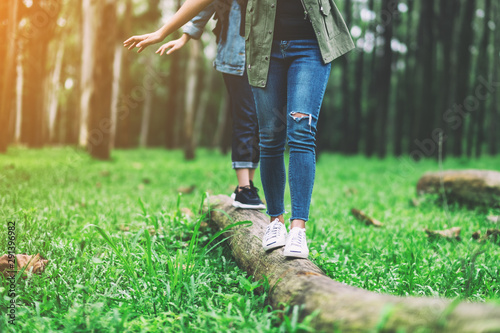 Fotomural  Group of traveler walking on the log while hiking in the forest
