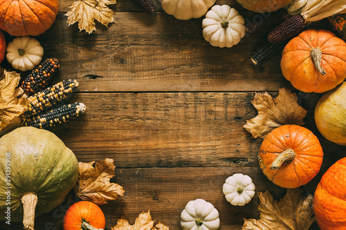 Fotografia  Different pumpkins on wooden surface with copy space.