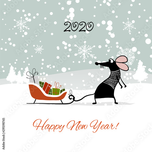 christmas card with funny mouse in winter forest symbol of 2020 year buy this stock vector and explore similar vectors at adobe stock adobe stock funny mouse in winter forest symbol