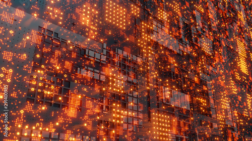 Fotomural  Abstract futuristic design. Tech wall with red bright elements