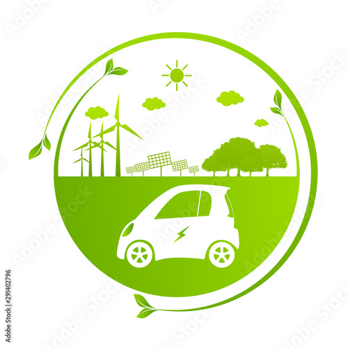 Ecology concept with eco car Environmental Cityscape Concept,Car Symbol With Green Leaves Around Cities Help The World With Eco-Friendly Idea