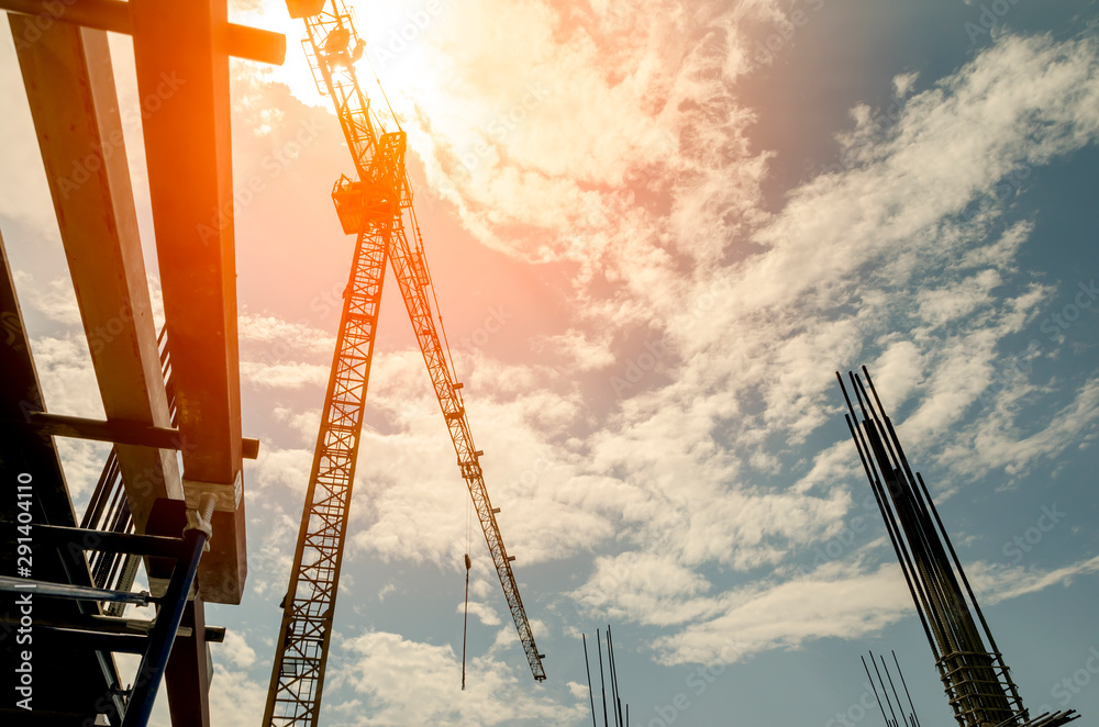 Fototapeta Site construction with tower crane background