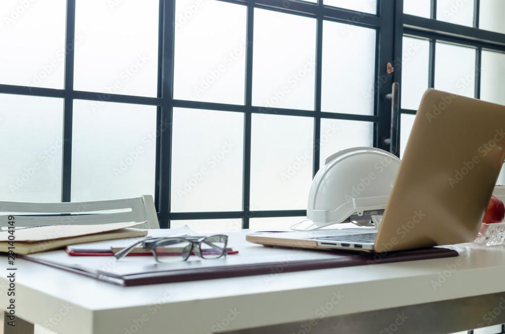 Fototapeta Interior office engineer with nature lighting background