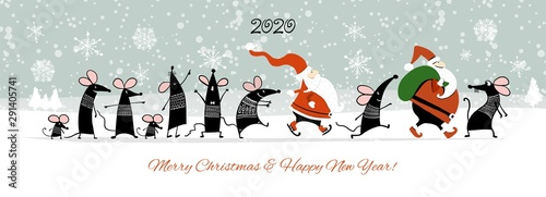 Canvas Prints Textures Christmas card with funny mouse and Santa in winter forest, symbol of 2020 year
