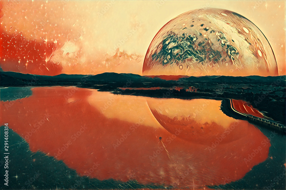 Boat sailing across a lake on alien planet digital artwork. Elements of this image furnished by NASA