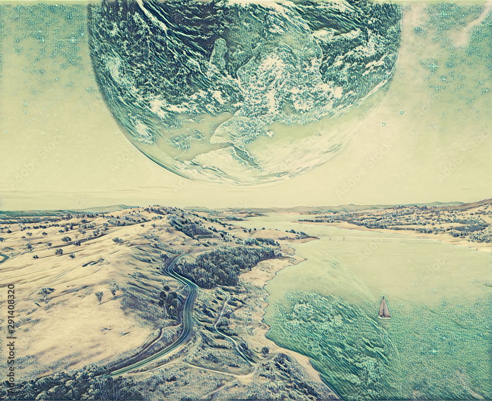 Unreal landscape of sailboat sailing across a river on alien planet - digital artwork. Elements of this image furnished by NASA