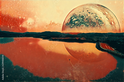 Fototapety, obrazy: Boat sailing across a lake on alien planet digital artwork. Elements of this image furnished by NASA