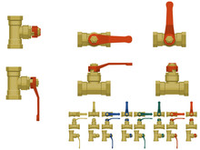 Isolated Ball Valve On Transparent Background