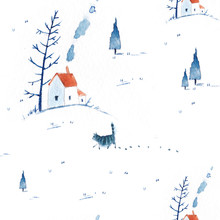 Seamless Watercolor Pattern With A Small Town, Farms, Houses, Hills.