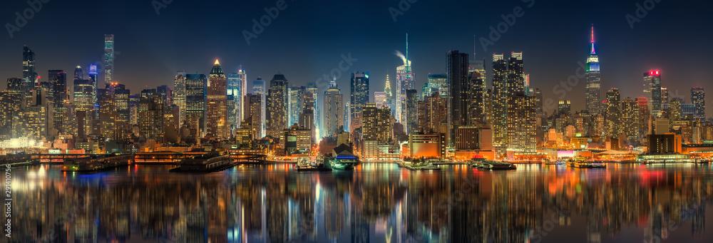 Fototapety, obrazy: Panoramic view on Manhattan at night, New York, USA