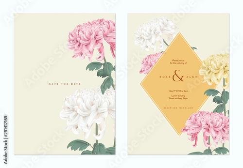 Canvas Print Floral wedding invitation card template design, Chrysanthemum morifolium flowers