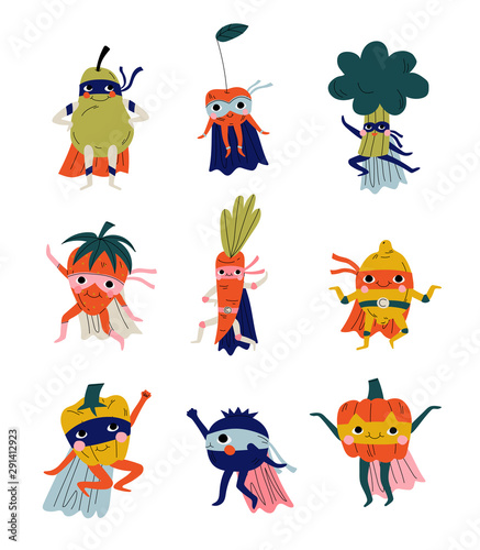 Collection of Funny Superhero Fruits and Vegetables Cartoon Characters in Masks and Capes Vector Illustration