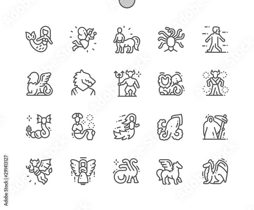 Fotografie, Obraz Mythical creatures Well-crafted Pixel Perfect Vector Thin Line Icons 30 2x Grid for Web Graphics and Apps