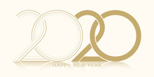 2020 Happy New Year. 2020 Modern Text Vector Luxury Design Gold Color.
