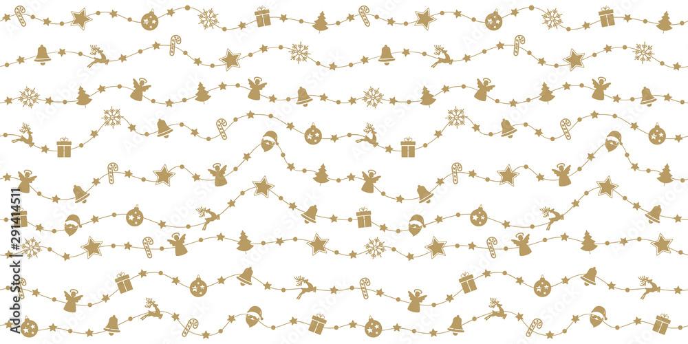 Foto-Leinwand ohne Rahmen - Christmas golden ornaments on rope line seamless pattern white isolated background