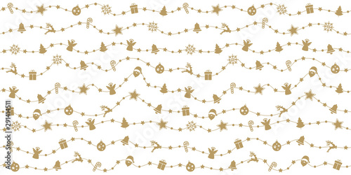 Foto-Vinylboden - Christmas golden ornaments on rope line seamless pattern white isolated background (von Pixasquare)