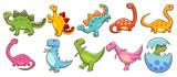 Fototapeta Dinusie - dinosaur vector set clipart design