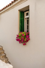 Vintage Window With Colorful F...