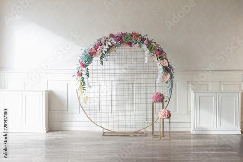 Laconic round wedding arch Canvas Print