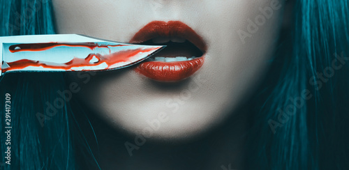 Knife in blood near red lips of woman. Tableau sur Toile