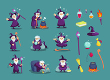 Wizard Male Character, Mage, Sorcerer In A Mantle And Hat