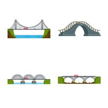 Vector Illustration Of Bridgework And Bridge Icon. Set Of Bridgework And Landmark Stock Symbol For Web.